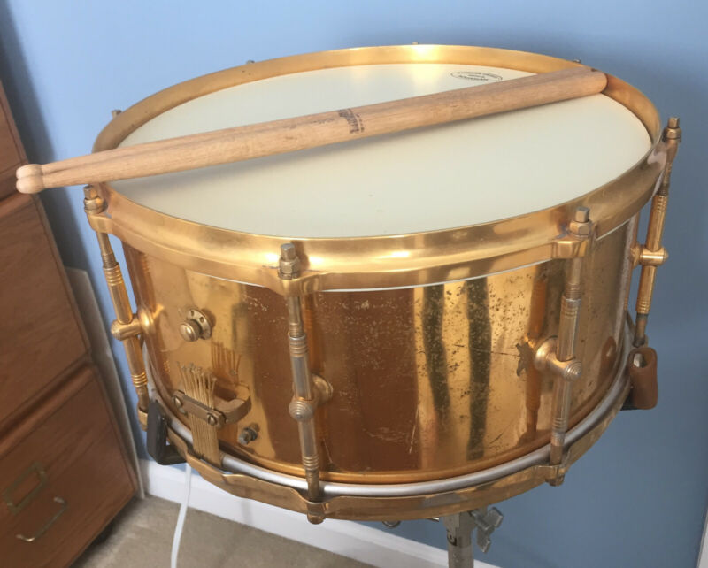 """Rare Original Billy Gladstone Gold Plated Vintage Snare Drum 7""""x14"""" 3-way tuning"""