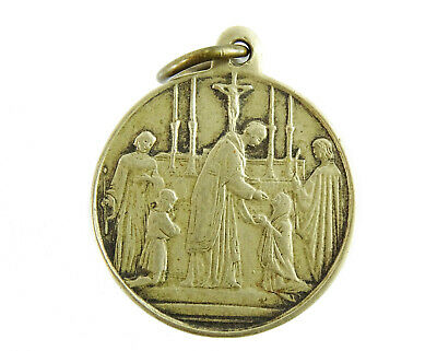 Vintage French brass medal pendant medallion charm of a young praying girl Child gift for the First Holy Communion or Confirmation
