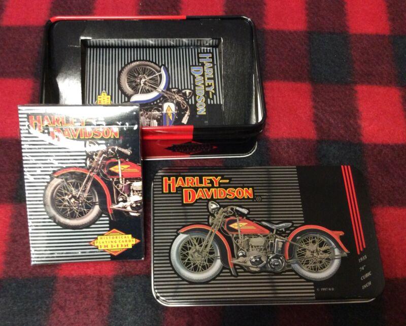 Harley Davidson Historical Playing Cards 2 Deck Collectible Tin Set