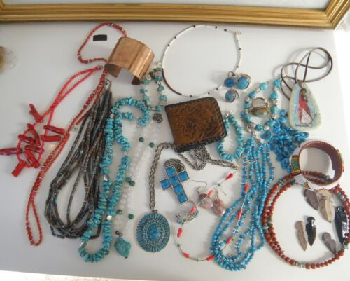 Vintage Huge Group Lot Southwestern Turquoise Jewelry Arrowheads Some Sterling