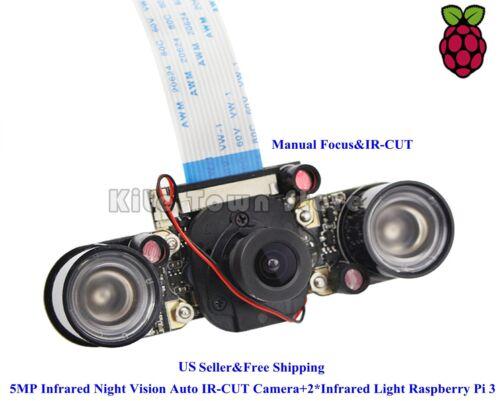 5MP Infrared Night Vision Auto IR-CUT Camera+2*Infrared Light Raspberry Pi 4B/3B