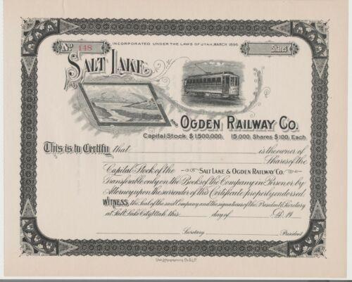 Salt Lake & Ogden Railway Co. Stock Certificate Utah