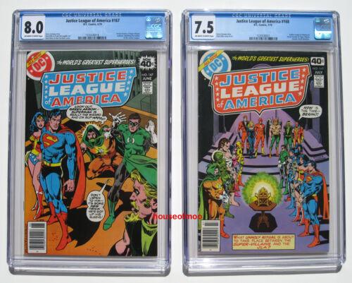 Justice League of America #167 #168 Lot CGC 8.0 7.5 SECRET SOCIETY 1979 ZOOM APP