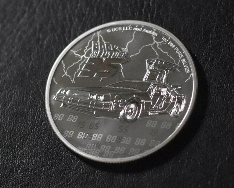 2020 Niue 1 oz Silver $2 Back to the Future 35th Anniversary BU With capsule