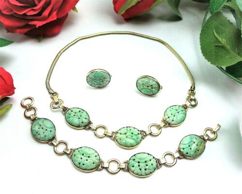 Antique Vtg E.B. 1/20 10K Gold Filled Carved Jade Necklace Bracelet Earring SET