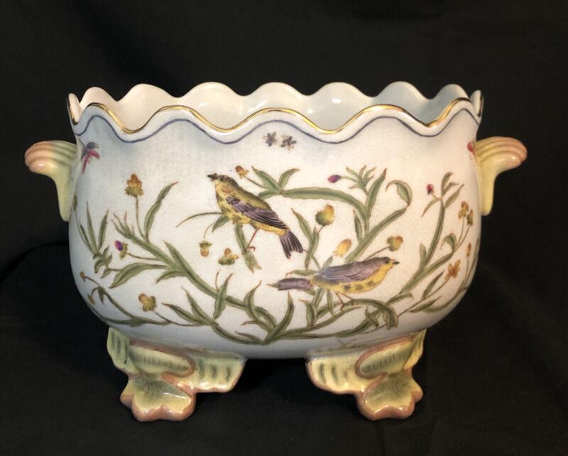 WONG LEE WL 1895 Crackled Glaze Footed Bird Botanical Motif Multicolor Planter