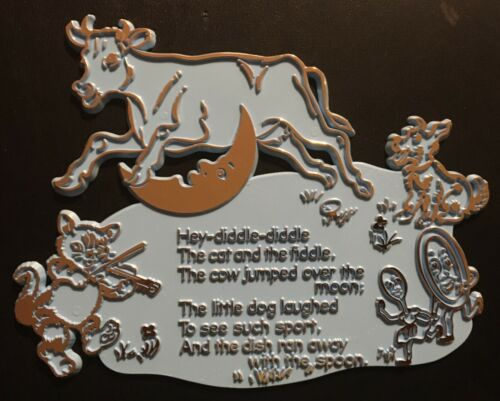 1969 Hey Diddle Diddle Nursery Rhyme Wall Plaque for Nursery Decor
