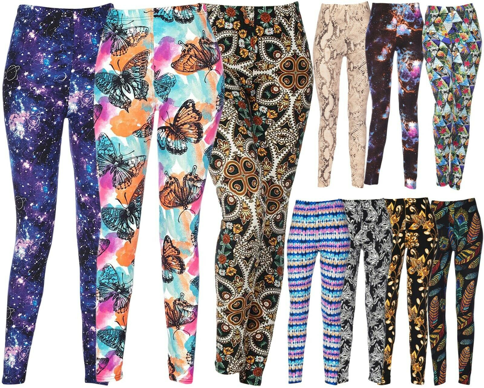Wholesale/Bulk Lot 10 Pcs Women's Assorted Printed Brushed Leggings Clothing, Shoes & Accessories