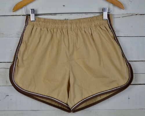 vintage JANTZEN Sz 36 Tan Brown Swim Shorts Trunks Lined Running Short USA