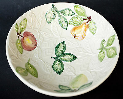 Vintage Hand Painted Embossed White Fruit BOWL POTTERY Made in Portugal