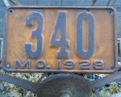 Vintage 1928 LOW #, Missouri License Plate, # 340, Model A Ford