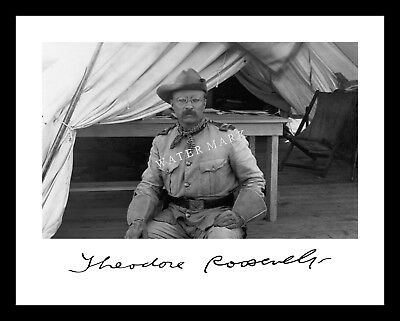 Theodore Roosevelt 11X14 Signed Photo Print ROUGH RIDERS President TR Teddy Army