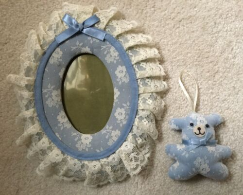 Russ Baby Blue Lace Oval Photo Frame & Teddy Bear Ornament