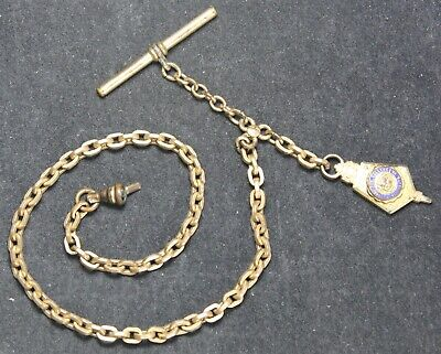 """Pocket Watch Chain w/ JMU FOB - Gold Plated or Filled - 11.5"""" Long - Vintage"""