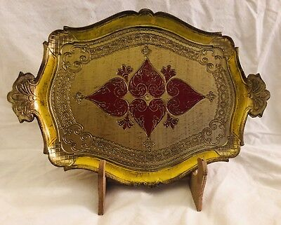 VTG Gold Gilt Florentine Red Hearts Italian Toleware Rectangle Tray Stand/Large