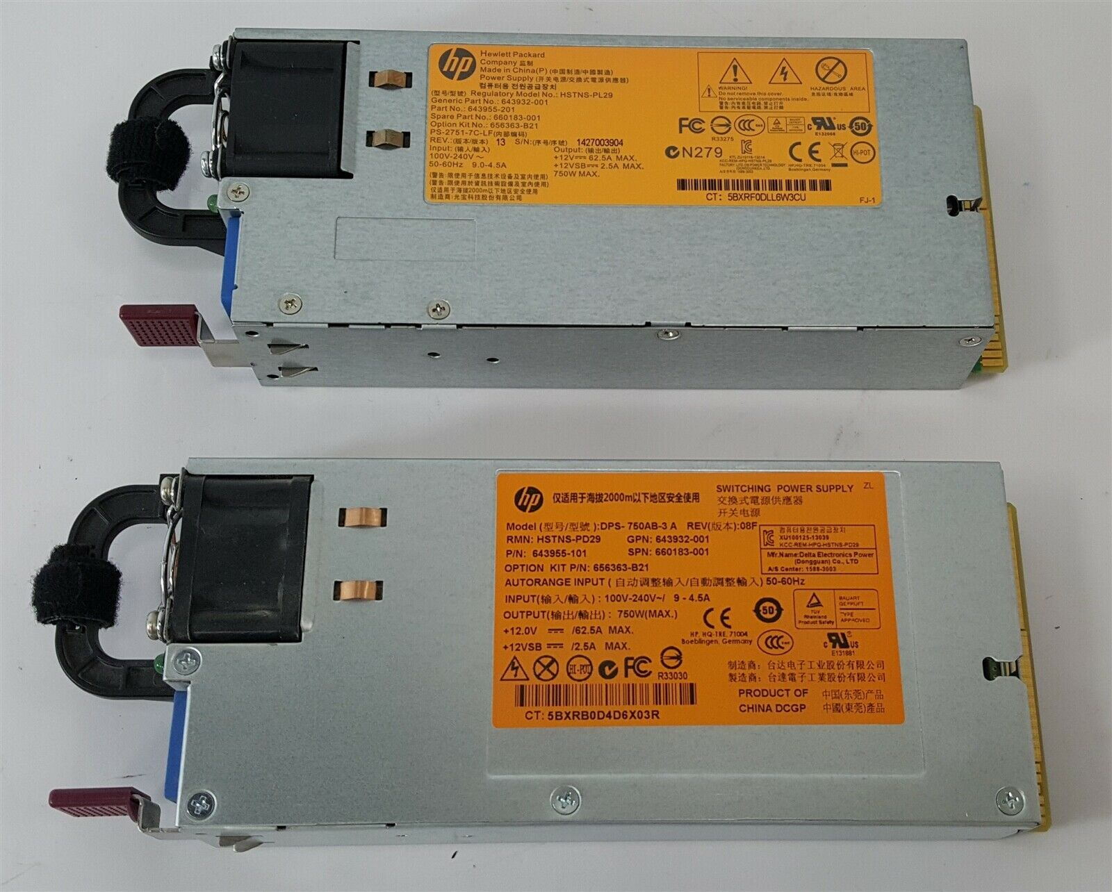 HP HSTNS-PL29 750W Power Supply for ProLiant DL160// DL360 G8 Server 660183-001