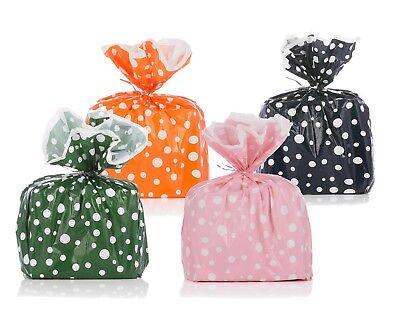 "4 Reusable Polka Dot Gift Wrap Bags Orange/Green/Pink/Navy (1 of Each) 17""x19"""