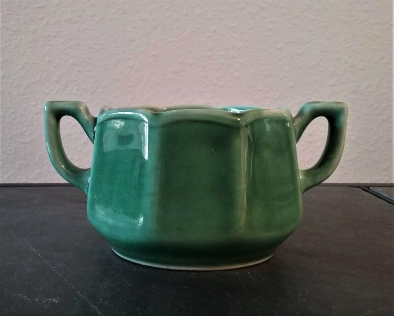 Vintage USA Brand Sugar Bowl, Green Drip Glaze.