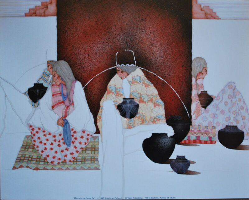 """Amado Pena Mini Prints """"MERCADO DE SANTA FE"""" 1983 (7770) UNSIGNED 8x10"""