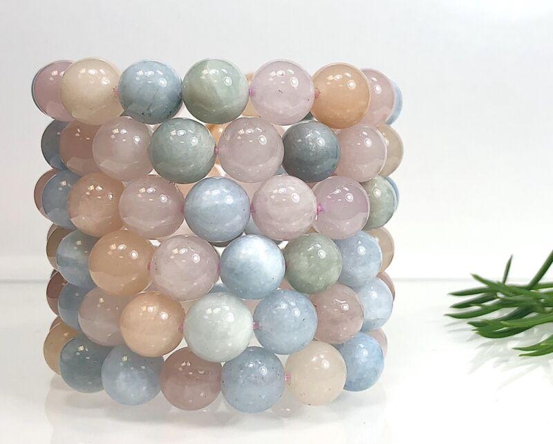 "Wholesale Lot 6 Pcs Natural Morganite 12mm 8"" Crystal Healing Stretch Bracelet"