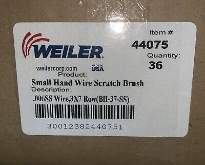 36 pack Small Hand Scratch Brushes 44075 Plastic Handles Weiler