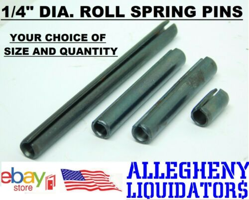 "VARIOUS LENGTHS x 1/4"" DIAMETER PLAIN BLACK STEEL ROLL SPRING PINS USA NH"