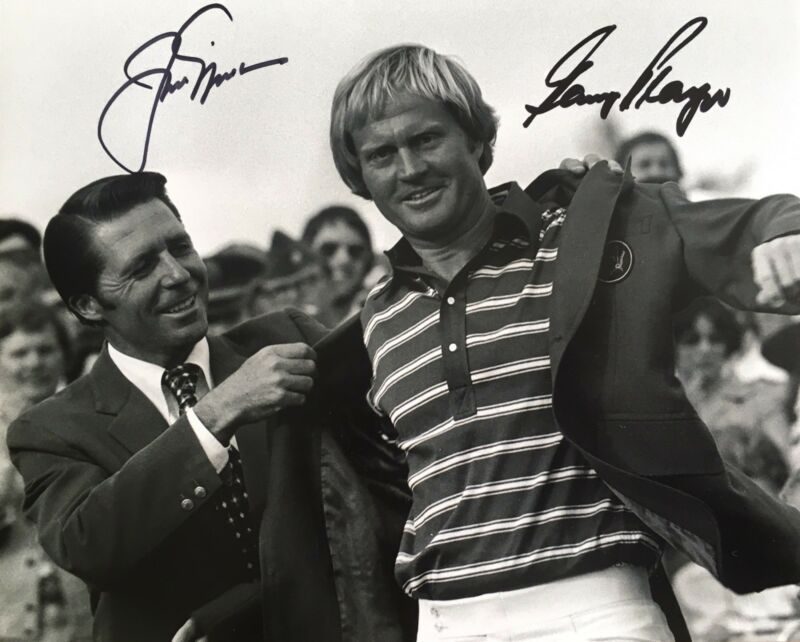 Jack Nicklaus & Gary Player signed 10x8 photo UACC RACC Trusted AFTAL Dealer