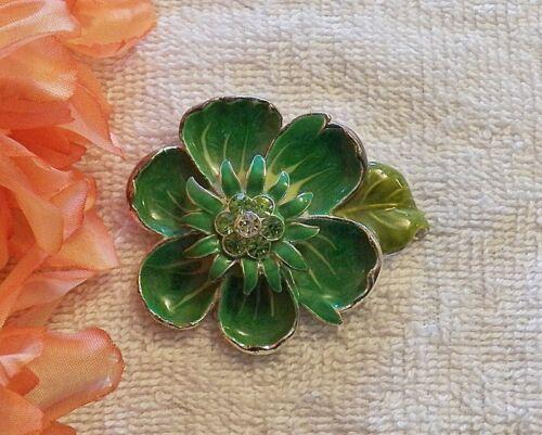 CLASSIC PIN BROOCH FLOWER PETAL LEAF BLOOMING GREEN FLORAL GARDEN RHINESTON DS-4