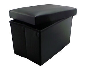 black faux leather ottoman folding storage pouffe kids