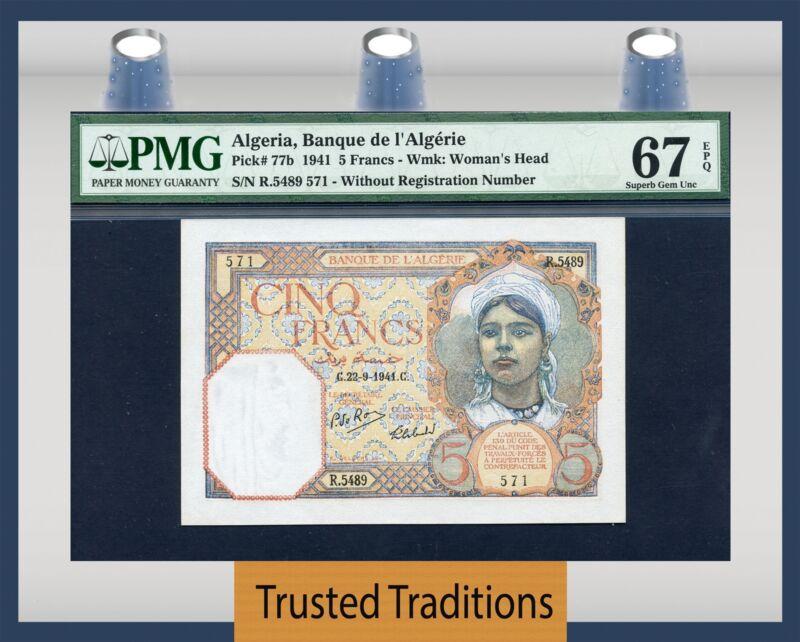 Tt Pk 77b 1941 Algeria 5 Francs Pmg 67 Epq Superb Gem Uncirculated