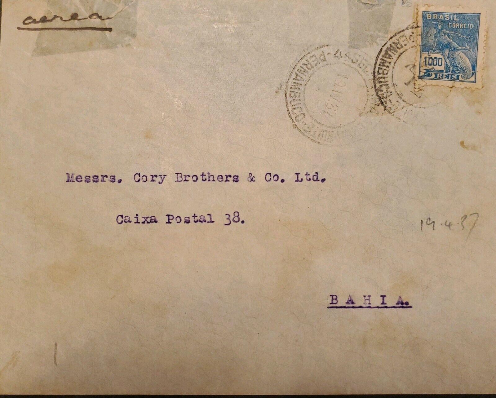 A 1937, BRAZIL, FROM PERNAMBUCO TO BAHIA, COMMERCE STAMP - $25.00
