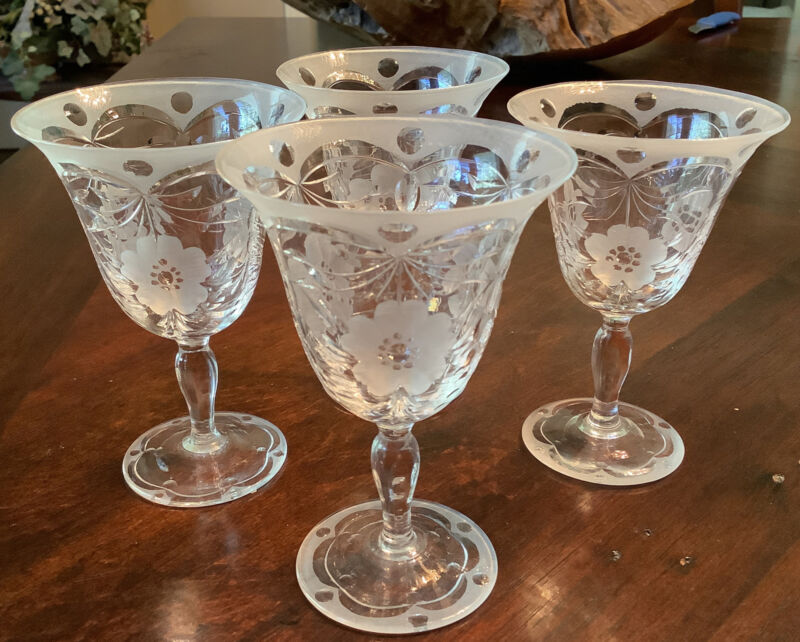 Pairpoint Glass Etched Crystal wine stems 4 inch Set of four