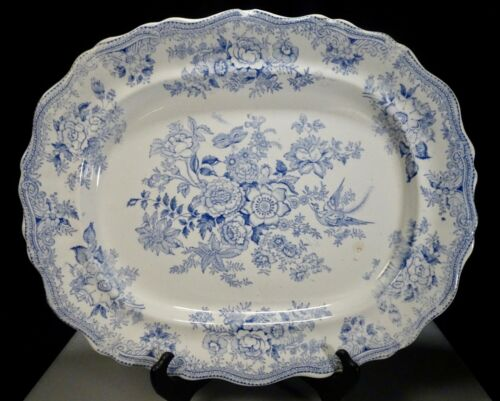 Antique Staffordshire Blue Transferware Platter Asiatic Pheasants  -  57415