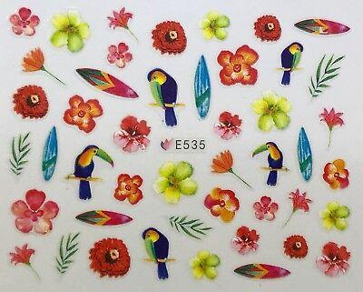 Nail Art 3D Decal Stickers Tropical Birds & Flowers Toucan Bird E535
