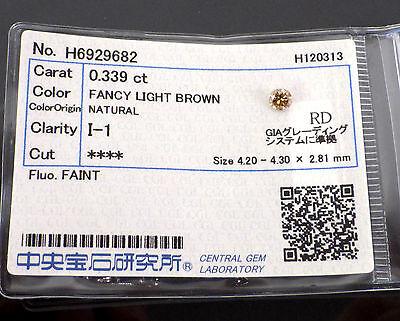 0.339 Carat I1 FANCY LIGHT BROWN Color Round Cut Loose Natural Diamond +Grading