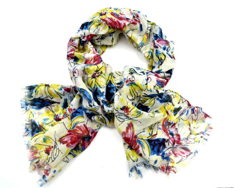 Women New White Yellow Red Blue Floral Fringe Trim Rectangle Long Soft Scarf