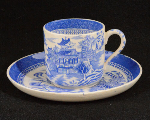 W T Copeland & Sons Blue Willow Demitasse Cup (1867 -1890 Mark)