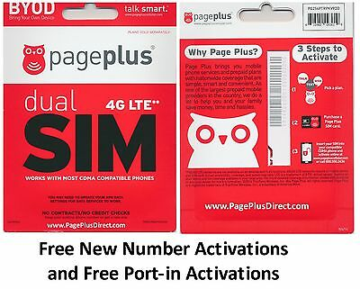 "Page Plus ""DUAL"" (4G LTE) SIM CARD - Standard / Micro (DUAL) Prepaid"