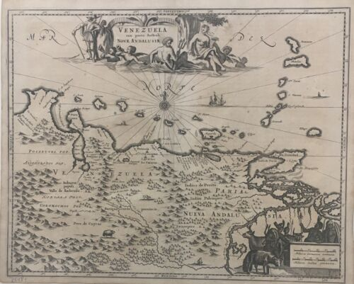 Venezuela cum parte Australi - A. Montanus 17th cent. Antique Map