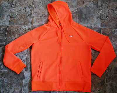 UNDER ARMOUR WOMEN'S COLD GEAR SEMI-FITED ORANGE ZIPPER HOODIE JACKET LARGE