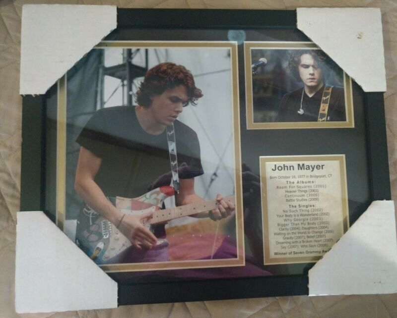 Unique framed John mayer photo grouping with biography.