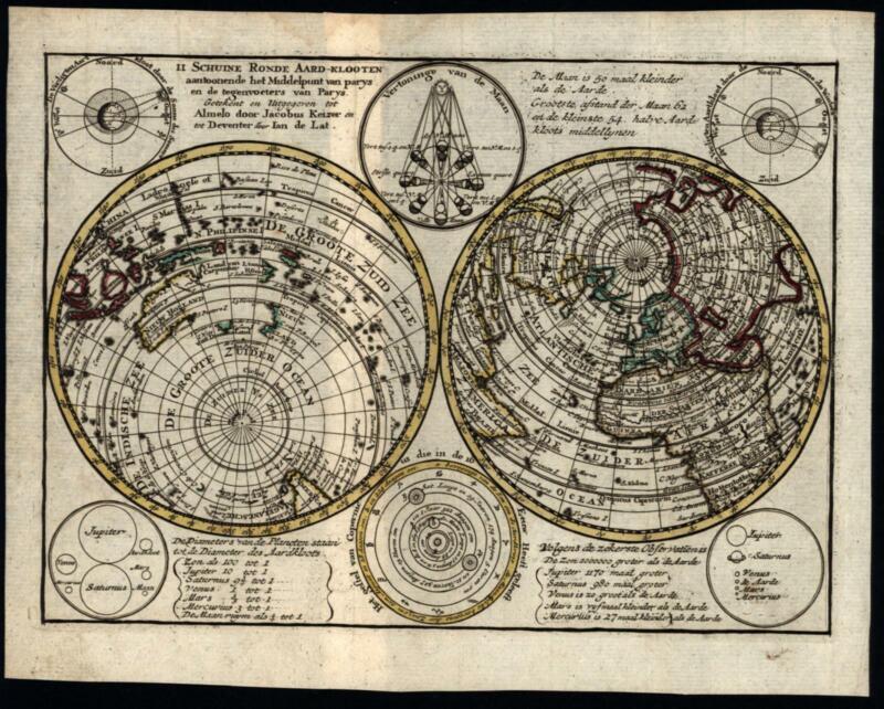 World double Hemispheres solar system orbits planets California island 1786 map
