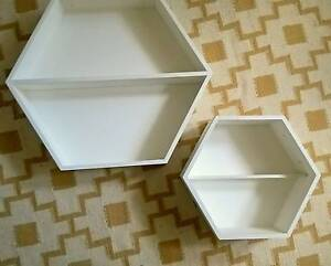 Pair Hexagon Wall Display Shelves/Shadow Boxes Typo Kmart Scandi Preston Darebin Area Preview