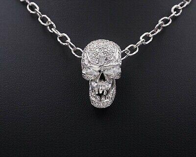 18k White Gold Pave Diamond Pendant (Loree Rodkin 18k White Gold Pave Diamond Skull Pendant Toggle Necklace 16