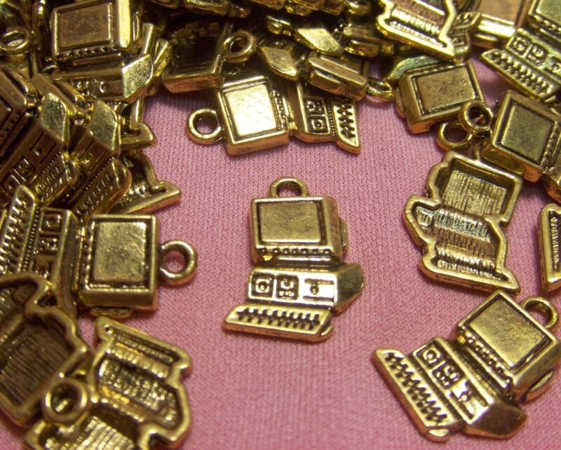 WHOLESALE LOT OF 50 GOLD METAL COMPUTER-CHARMS-DROPS-FINDINGS-JEWELRY MAKING