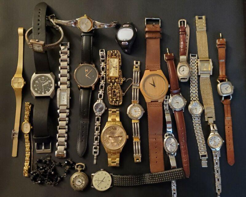 22 Mixed Mens Ladies Untested  Repair/Parts Repurpose Fashion Quartz Watches