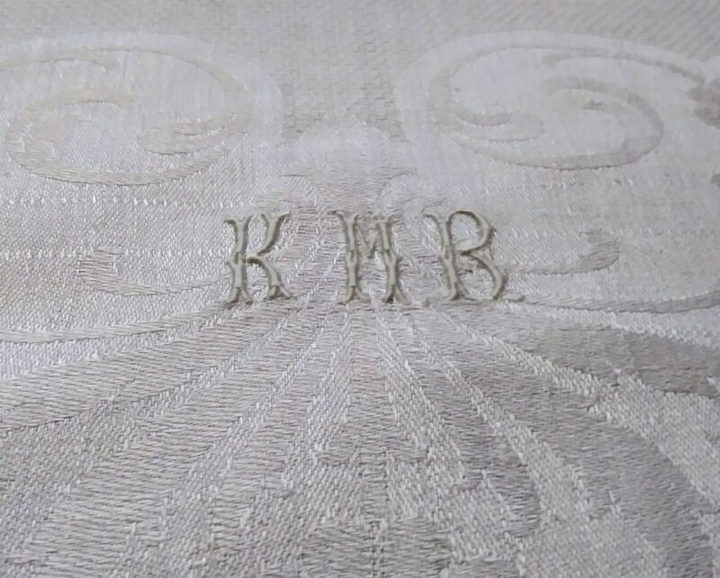 """Gorgeous Heavy Damask Linen Hemstitched Show Towel Initials """"KMB"""" 46""""x26"""" #1"""