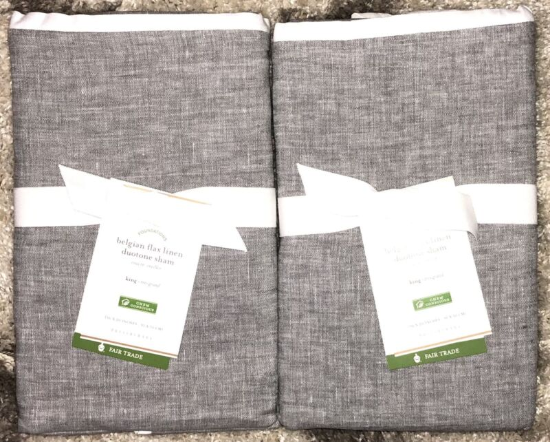 Pottery Barn Belgian Flax Linen Duotone Shams-Set of 2 - King - Flagstone/White