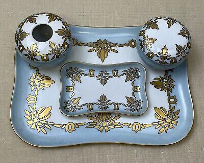 6 Pcs Vintage Limoges/M&Z P and P Art Deco Vanity Trays Jars Blue White w/Gold