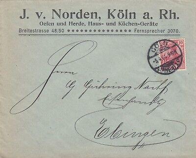 KÖLN, Briefumschlag 1905, J. v. Norden Öfen Herde Haus-Küchengeräte